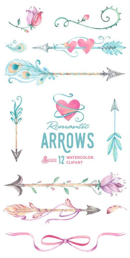 Romantic Arrows Watercolor Clipart. 12 Hand by OctopusArtis
