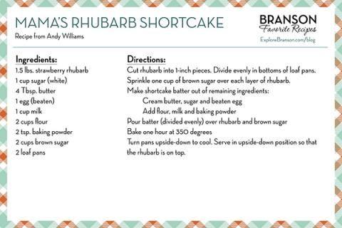 Andy Williams' Mama's Rhubarb Shortcake Recipe | #food #dessert #recipe