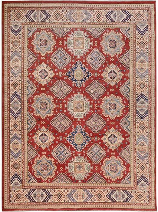 Shahbanu Rugs Red Special Kazak All Over Design Pure Wool Hand Knotted Oriental Rug 9 0 Quot X 11 5 Quot In 2020 Oriental Rug Colorful Rugs Cotton Rug