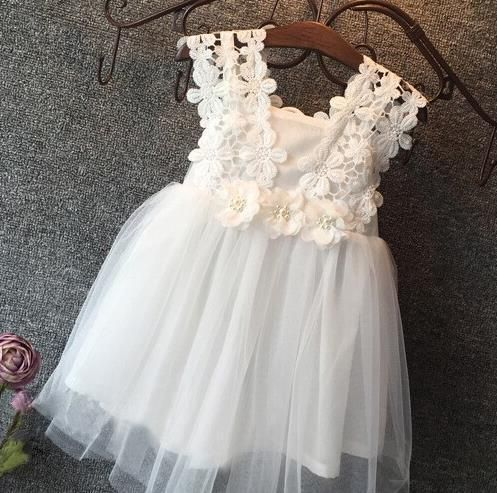 Baby Girl Christening Dress Toddler Party Lace Gown Wedding Tutu Flower Dress