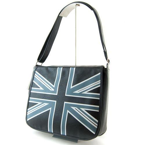 CZARNA TOREBKA-PRZEWIESZKA z flagą UK DAVID JONES. $29 #bag