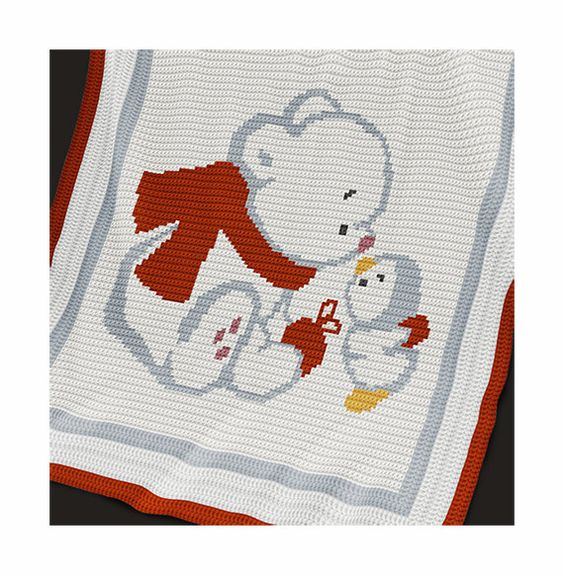 CROCHET Pattern - Baby Blanket Pattern - Bear and Penguin ...