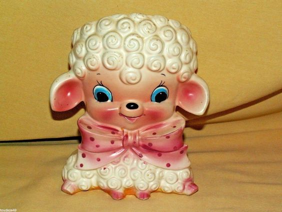 Lamb Planter Pink Napco K5325 Polka Dot Ribbon Baby Girl Nursery Decor Blue Eyes