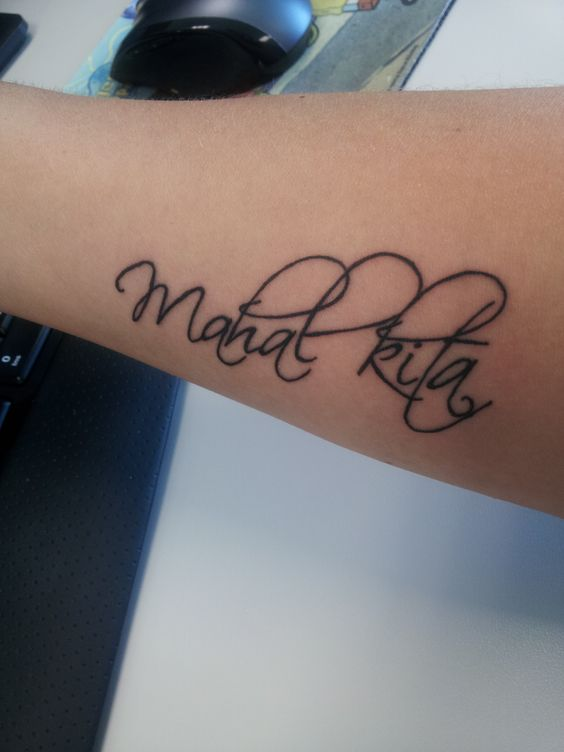 """My newest tattoo. """"Mahal kita"""" means """"I love you"""" in Tagalog (Filipino)."""