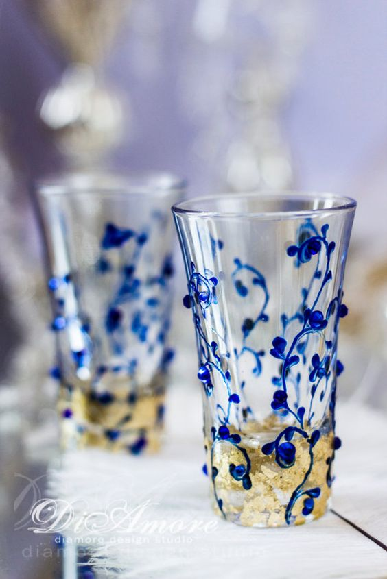 Royal blue and Gold wedding champagne glasses from by DiAmoreDS