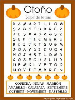 Aprendizaje Divertido: Imprimible: Sopa de letras de otoño