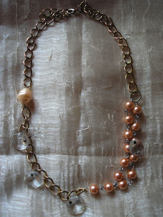 handmade vintage necklace with chain and pearls