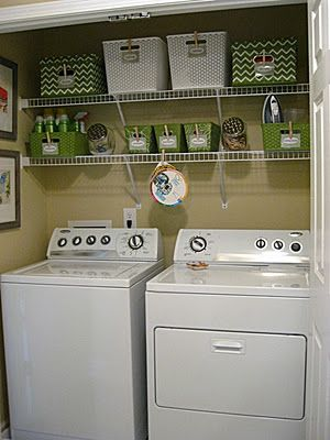 Is your washer and dryer in a closet area? Here is a great example of how to organize it!