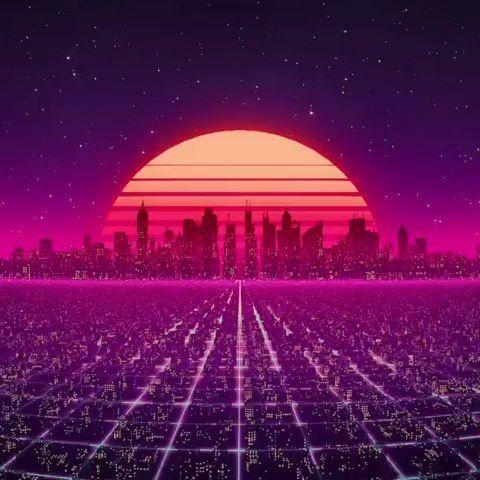 Outrun Synthwave Cyberpunk City View Neon Sunset Digital Artwork Futuristic Design Cyberpunk City Synthwave Sunset City