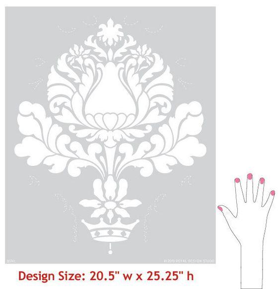 Итальянский дизайн и викторианской Главная Декор - Корсини Дамаск настенной живописи Трафареты для DIY пользовательские обои Look - Royal Design Studio