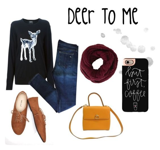 """""""Deer To Me"""" by faith-nowak on Polyvore featuring Markus Lupfer, rag & bone, Wet Seal, CÉLINE, BCBGMAXAZRIA, Casetify, Oxfords, scarf, deer and mustardbag"""