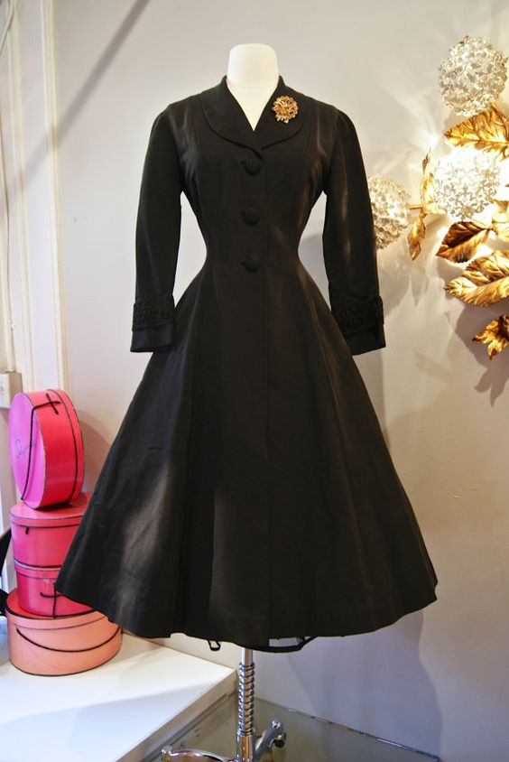 Vintage 1950's // 50's Black Faille Coat Dress | Beautiful ...