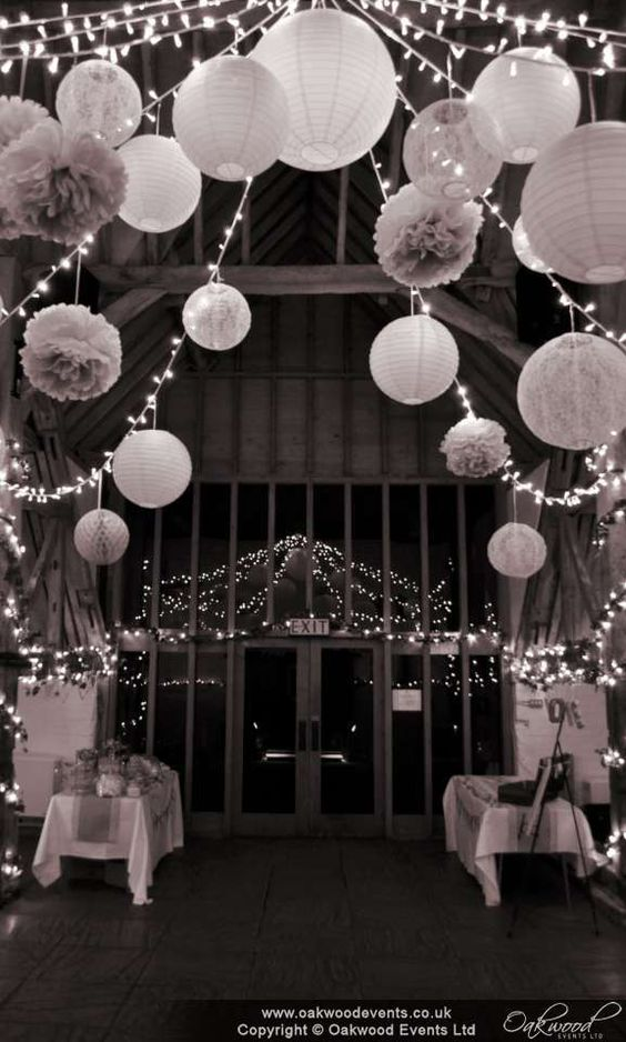 Reflections in the barn at @uftoncourt with our fairy light star canopy with paper lanterns and pom poms for a very pretty wedding