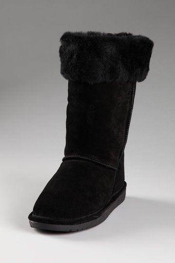 BEARPAW Marissa Boot black suede sheepskin wool