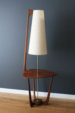 Mid-Century Modern Walnut Lamp with Side Table