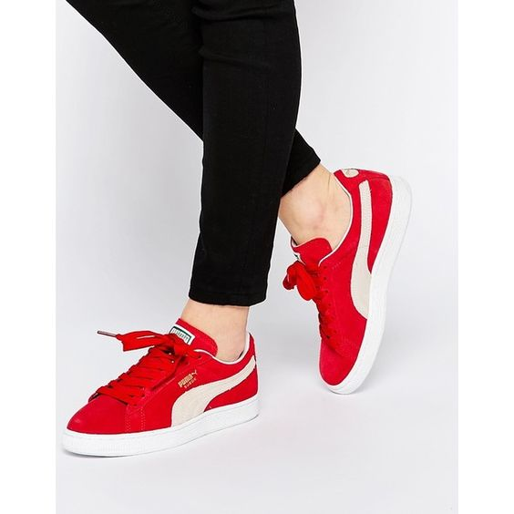 Puma Suede Classic Sneakers ($69) ❤ liked on Polyvore featuring shoes, sneakers, laced sneakers, puma sneakers, lacing sneakers, puma trainers and grip trainer