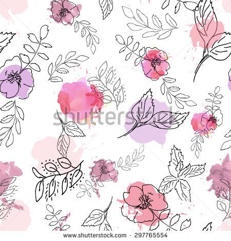 seamless floral background with wild roses