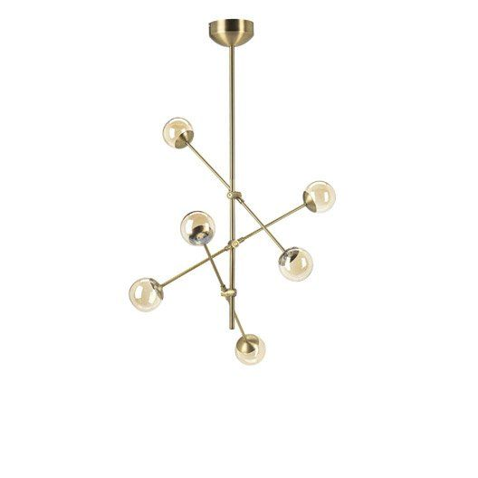 Suspension Led Integree Moderne Pronto Metal Laiton Brosse 6 X 20 W Mathias Avec Images Laiton Suspension Moderne Led