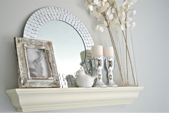 Eclectic shelf decor round mirrors shelves for Decorative wall shelves for bedroom