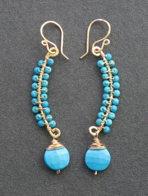 Luxe Bijoux 84 Curved earrings wrapped with by CalicoJunoJewelry, $76.00