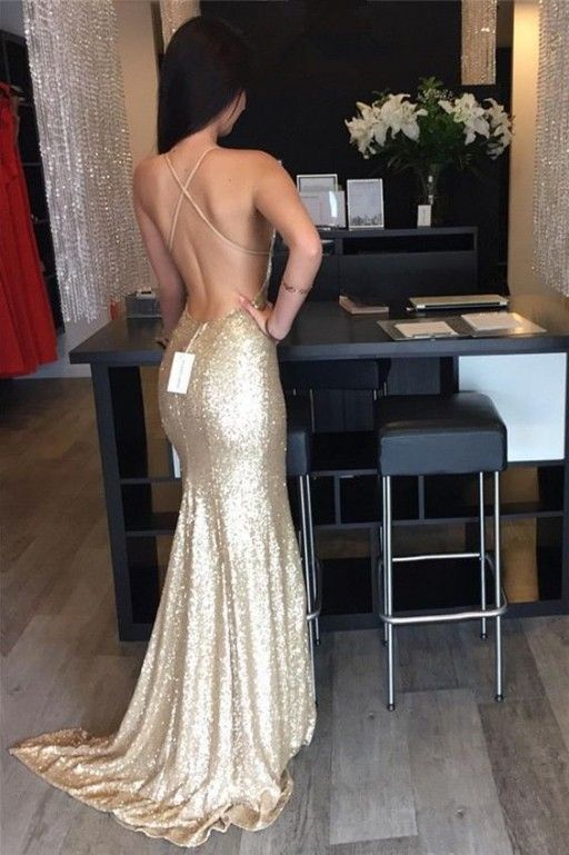 Luxurious Prom Dress,Floor Length Mermaid Style Gold Prom Dress ,Halter Backless…