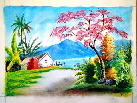 A Newly Landscape Drawing With Oil Pastel Oil Pastel Drawing Tutorial Easy Landscape Paintings Oil Pastel Landscape Landscape Drawings