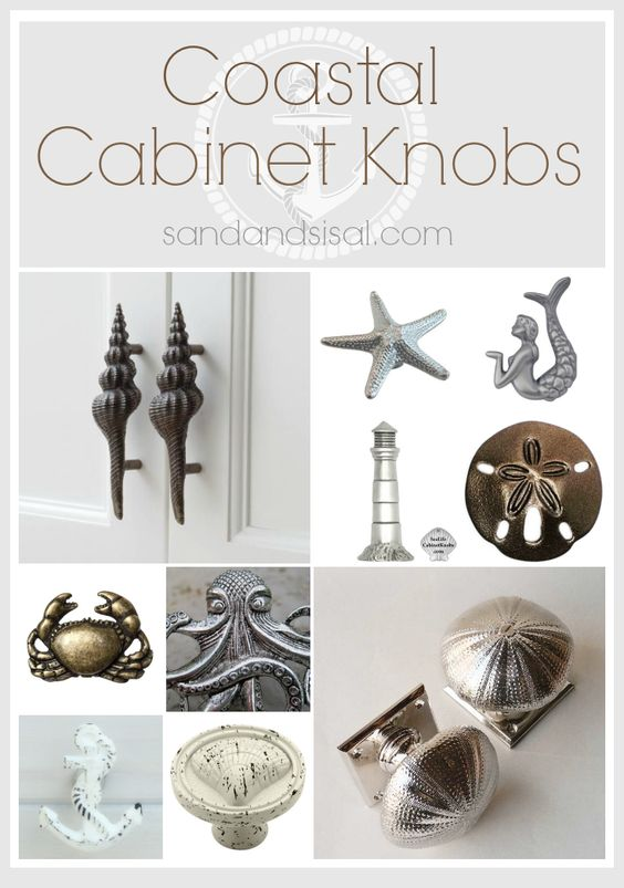 Coastal cabinet knobs and pulls creative cabinets and beaches - Nautical kitchen cabinet hardware ...