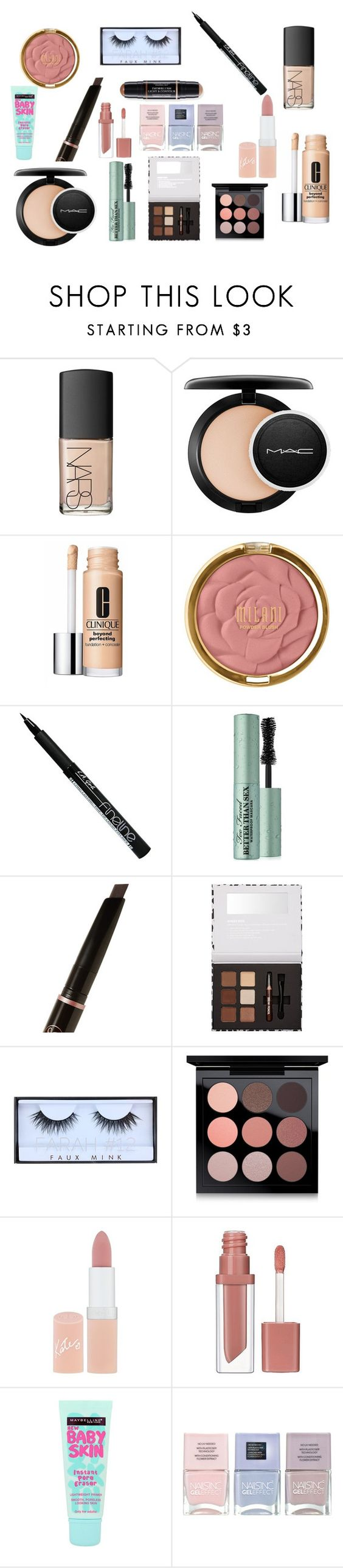 """Daily makeup"" by mrslexluthorloki on Polyvore featuring beauty, NARS Cosmetics, MAC Cosmetics, Clinique, Milani, Too Faced Cosmetics, Anastasia Beverly Hills, Huda Beauty, Rimmel and Essence"