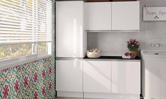 Conjunto para Lavanderia com 3 Módulos Branco - Glamy | Lojas KD