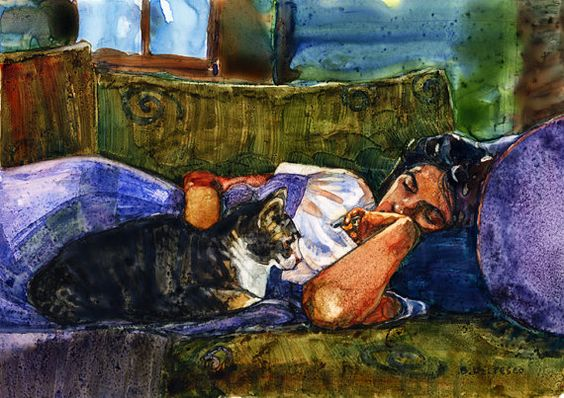 Print Matted to 11x14 Watercolor Sleeping Woman with by bdelpesco, $30.00