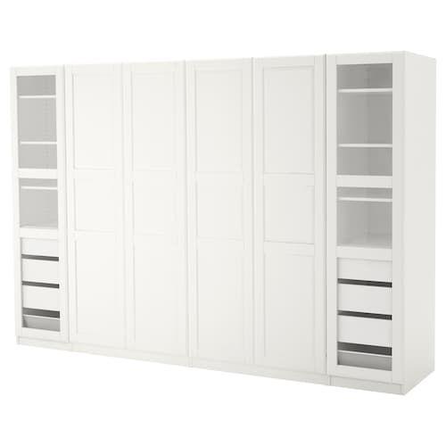 Scarpiera Guardaroba Pax Ikea.Pax Guardaroba Bianco Tyssedal Tyssedal Vetro 300x60x201 Cm