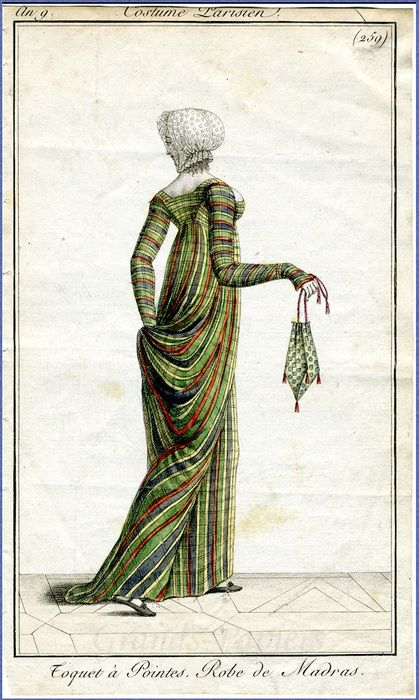 This fashion plate from French fashion periodical Le Journal des Dames et des Modes dates to 1800 and shows a colorful dress made of a thin cotton fabric known as madras.