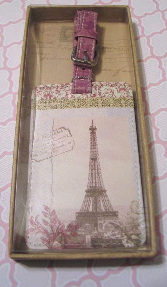 Paris Motif ID Luggage Tag Pink New in Box by Mudlark Travel Souvenir Accessory
