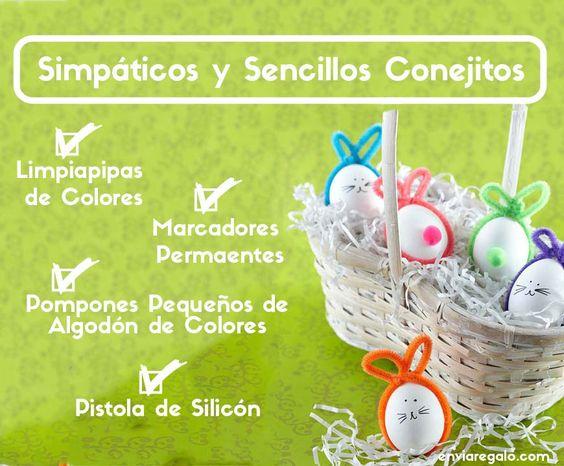 Ideas para decorar los huevos de Pascua en Conejitos #huevitos #pascua #conejos #ideas #niños #diversión #decoración   - www.enviaregalo.com