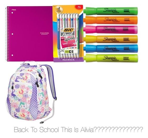 """""""Back to school"""" by catzmeow ❤ liked on Polyvore featuring interior, interiors, interior design, home, home decor, interior decorating, BIC, Sharpie and High Sierra"""