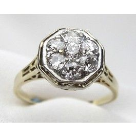 Fabulous tested platinum topped 14kt yellow gold Art Deco cluster ring. The top of the filigree ring is bead set with seven (7) Old European cut diamonds. The diamonds have a total weight of .90 carats with a clarity range of VS1-SI1 and color G-H.  Appraisal Value: $6840.
