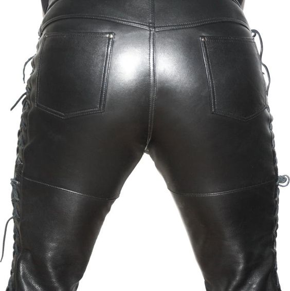 Lace up leather jeans back, yummy