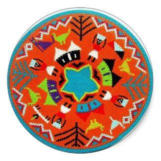Folk art round stickers