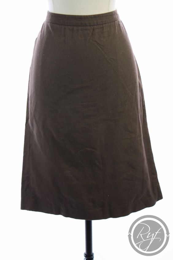 ROBERT RODRIGUEZ Brown COTTON Knee Length PENCIL Straight Dress SKIRT M 8