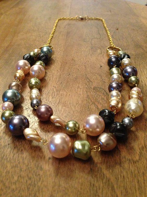 Collier vintage de billes de verre perlé par MCCbijouxetcreations