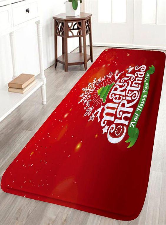 Letter Print Flannel Nonslip Christmas Bath Rug