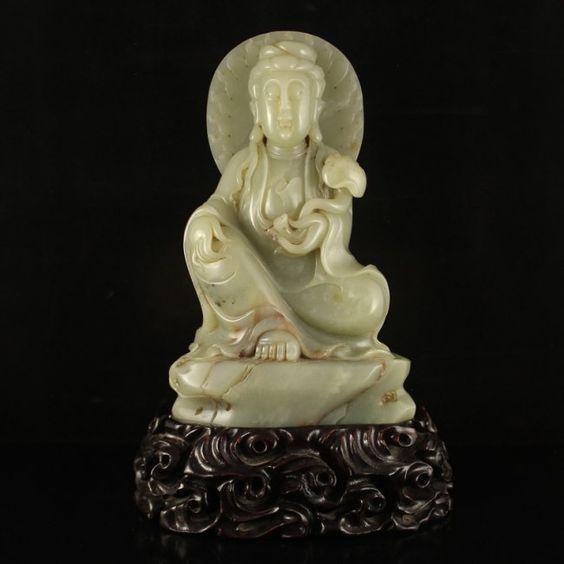 中國清代 和田玉觀音雕像 Vintage Chinese Qing Dynasty Hetian Jade Kwan-yin Statue