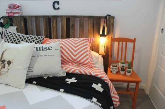 Boys bedroom mini makeover / orange black green chevron