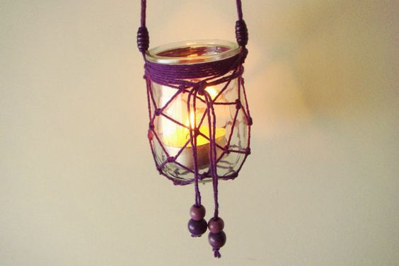 Handmade purple macrame hanging candle holder garden by recosas, €10.00