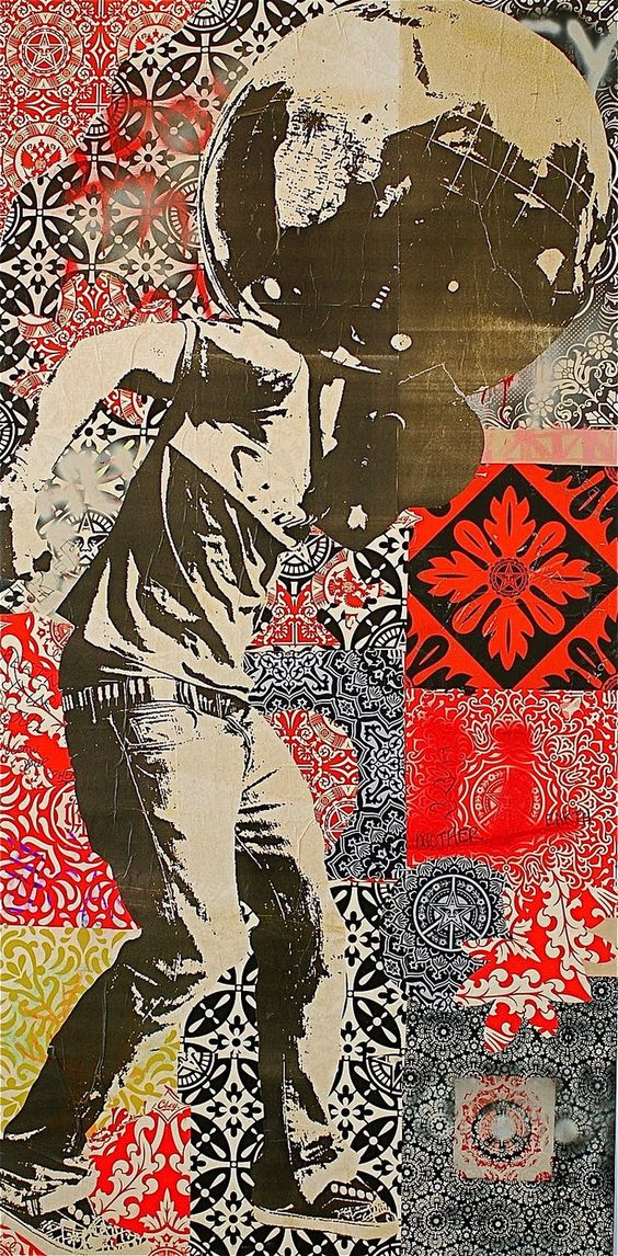 Shepard Fairey - collage, colour, figure.: