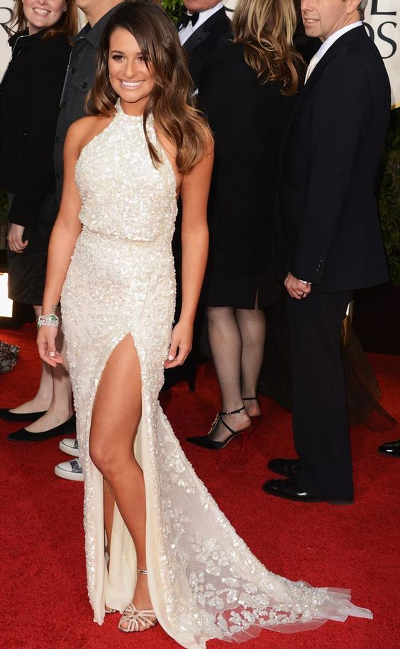 Lea Michele in a Cream Elie Saab at the 2013 Golden Globes  Read More: Lea Michele's Best Red Carpet Dresses | http://popcrush.com/lea-michele-best-red-carpet-dresses-photos/?trackback=tsmclip