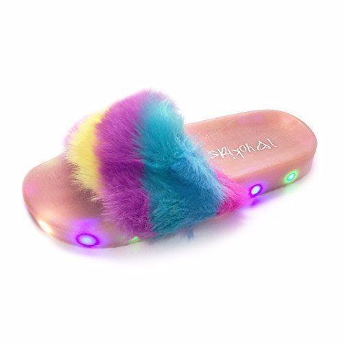 Girls Flip Flop Fur Slide Slip Light Up