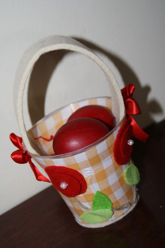 easter basket with fabric and felt