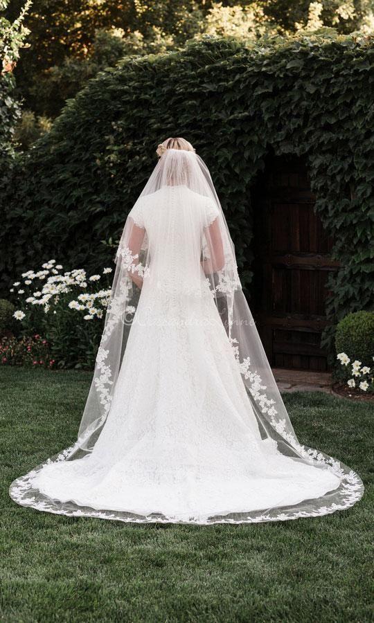 Vintage Wedding Veil Sequin Lace Wedding Veil Sparkle Cathedral Veil with Blusher Veil Floor Length Veil Two Tier Blusher Veil Chapel Veil