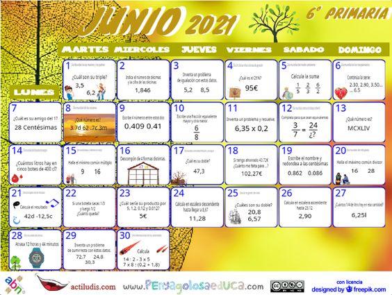 Calendario Sexto ABN – Junio 2021